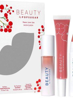 beauty by popsugar- peace love lips snow queen Kit de labios
