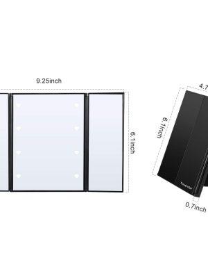 Espejo de Maquillaje-espejo de tocador con  luces LED plegable