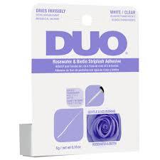 Ardell – DUO Adhesivo para pestañas con tira de biotina y agua de rosas con brocha, blanco / transparente (lila)